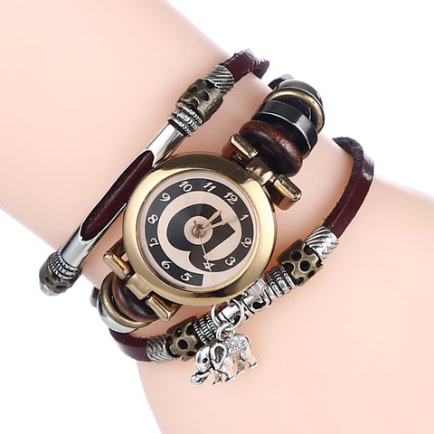 Coffee colored charming wristwatch for women