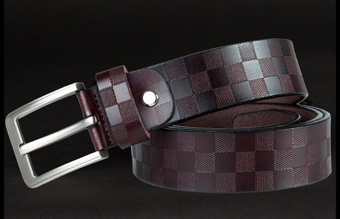 Stylish Plaid Pattern Leather Belt for Casual and formal wear