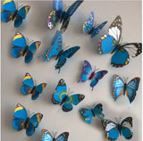 Butterfly stickers for wall, fridge, room etc - Pack of 12 pieces