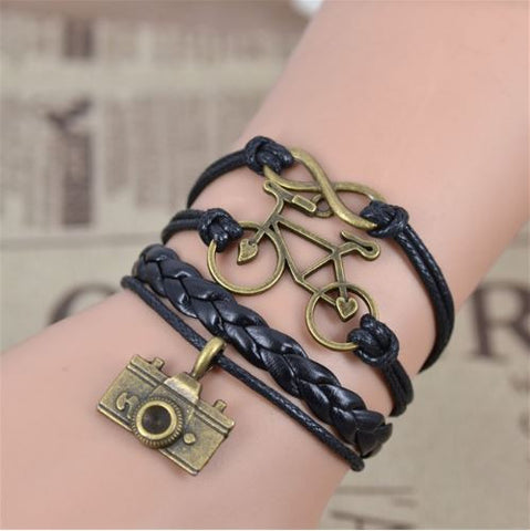 Charming Leather Friendship Bracelet for Men/Women - Photo/Cycle