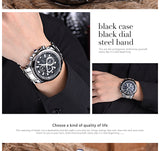 Longbo Casual Watch, Black dial and Stainless steel belt