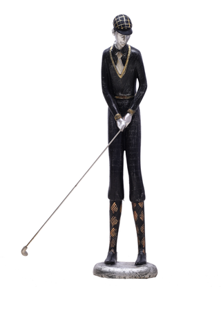 Highly detailed and well dressed golfer figurine