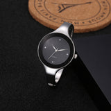 Black round dial elegant wristwatch for women