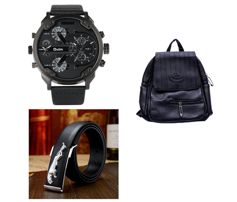 Oulm Watch, Jaguar Belt and Leather Bagpack Combo