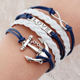Charming Leather Friendship Bracelet for Men/Women - Love/Anchor