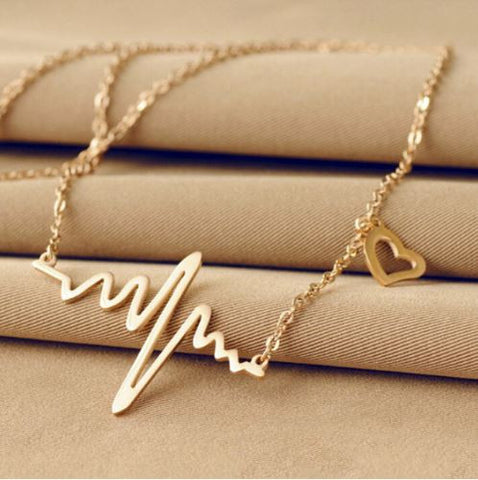 18K Gold Plated ECG Heart Necklace