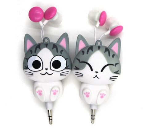 Cute retractable headphones for mobile phones
