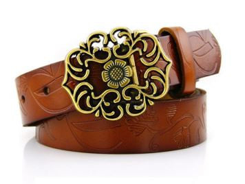 Fashionable vintage metal embossing leather belt for women