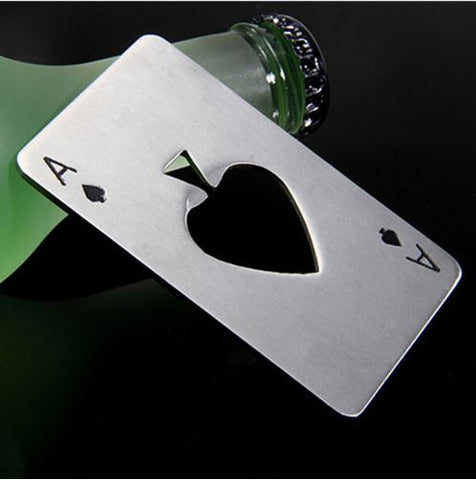 Steel Poker Ace bottle opener