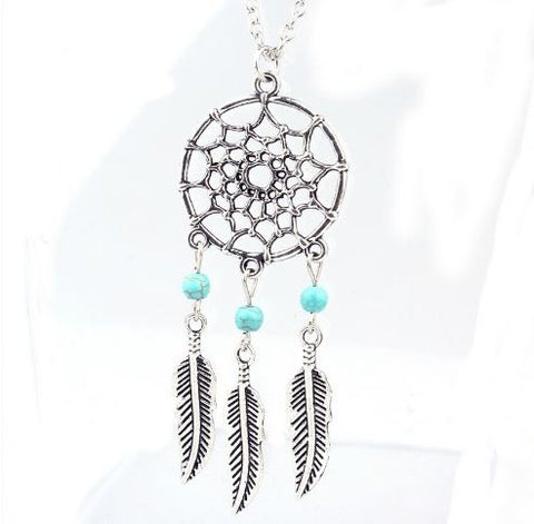 Trendy Bohemian Style Dreamcatcher Feather Necklace