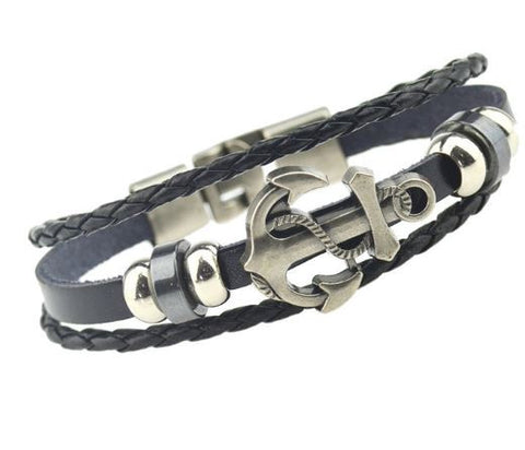 Handmade Anchor designed leather bracelet for Men/Women
