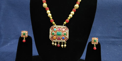 Traditional multi colored stone necklace by Bijoux Collection
