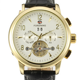 Forsining Men's Automatic Tourbillon Day Calendar Leather Strap Military Collection Watch