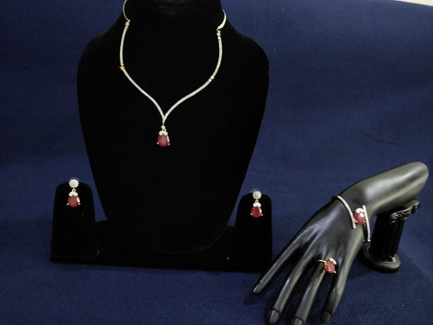 Feminine & Delicate Drop shaped gem with stone work Half Set Imitation Jewelry by Bijoux Collection