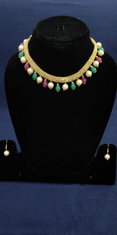 Traditional multi color pearl designed earings and necklace by Bijoux Collection