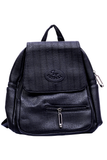 Black PU Leather Unisex Bagpack