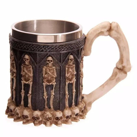 Gothic styled fashionable skeleton stainless steel cup