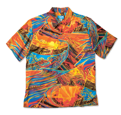 Kai - Hypnotic Waves S/S Dress Shirt - FIERY SUNSET