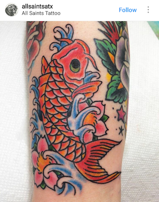 Red koi & blue waves tattoo design