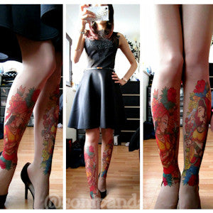 Soni Panda in custom printed tattoo tights by Stop & Stare