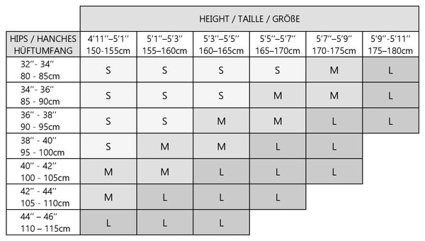Size chart guide for Stop & Stare tattoo printed tights & pantyhose