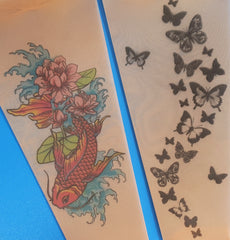 Black butterflies and Fish N Flowers tattoo printed tights & pantyhose