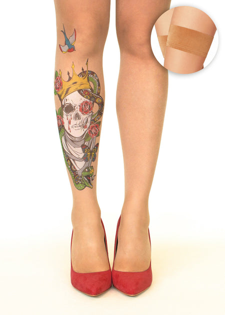 Black Roses Flower Tattoo Sheer Hold-Ups