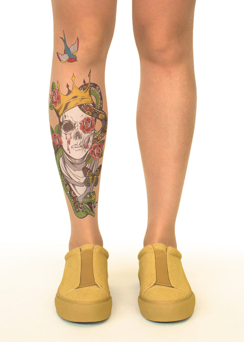 Beauty in Death tattoo printed tights & pantyhose
