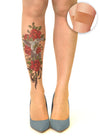 Bird N' Roses tattoo printed hold-ups, tights & pantyhose