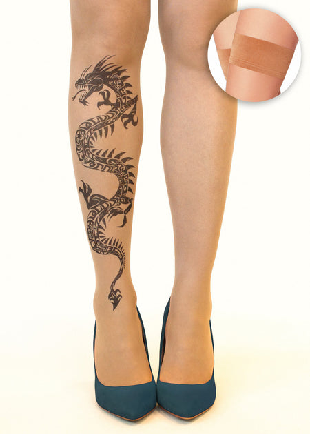 Maori Couple Tattoo Sheer Hold-Ups