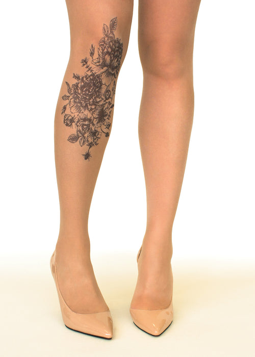 Black Garden tattoo printed tights & pantyhose