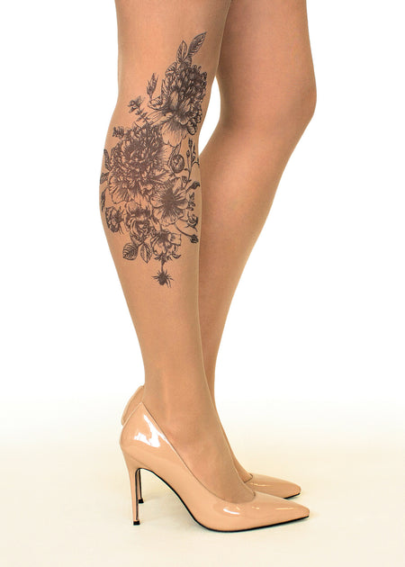 Irish Harp & Shamrock Tattoo Sheer Tights