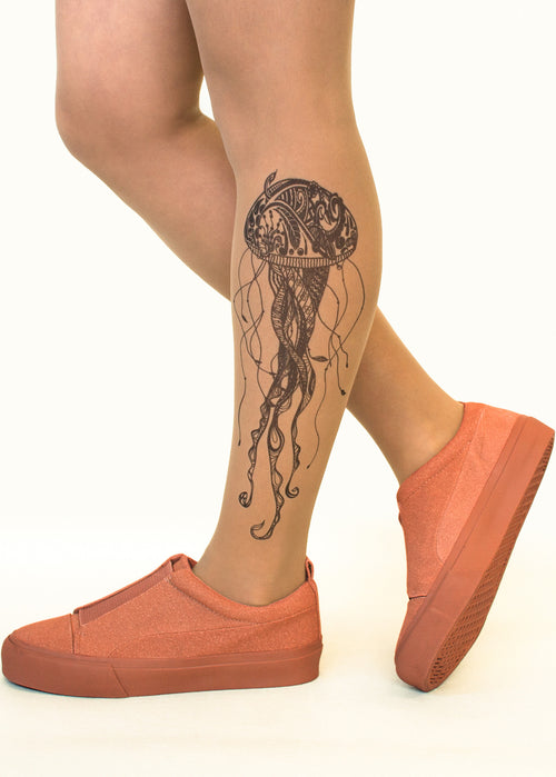 Black Jellyfish tattoo printed tights & pantyhose