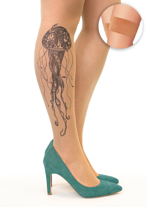 Black Jellyfish tattoo printed hold-ups, tights & pantyhose