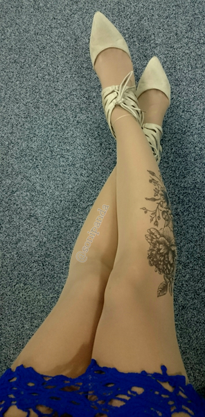 Black Garden tattoo printed hold-ups, tights & pantyhose