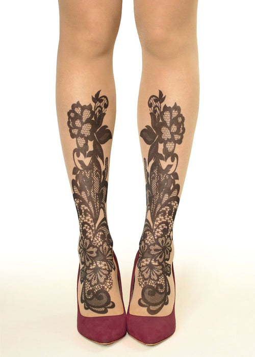 Black Lace Flowers Tattoo Printed Tights/Pantyhose