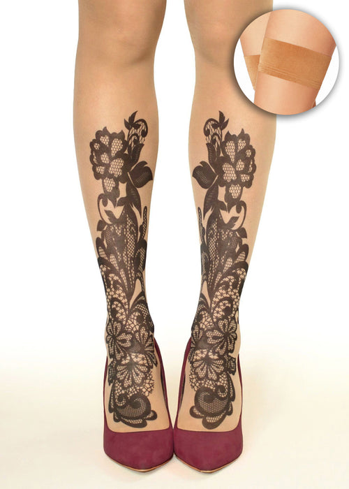 Black Lace Flowers Tattoo Printed Hold-Ups, Tights/Pantyhose
