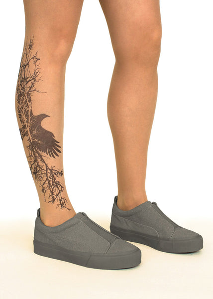 Branching Crow tattoo printed hold-ups, tights & pantyhose