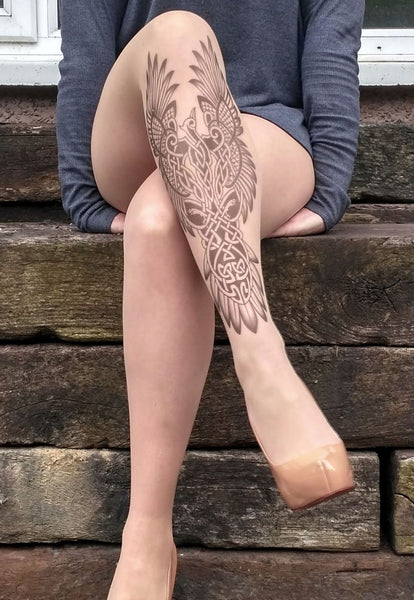 Celtic Phoenix tattoo printed hold-ups, tights & pantyhose