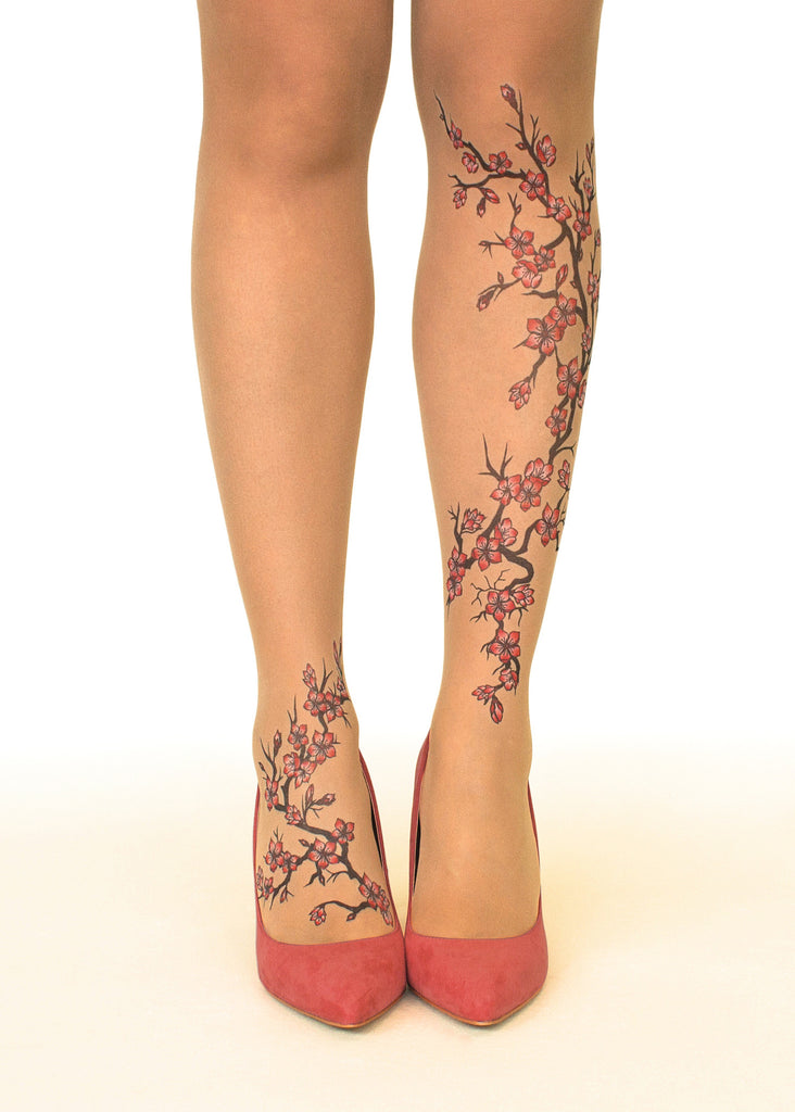 Cherry Blossoms tattoo printed tights & pantyhose