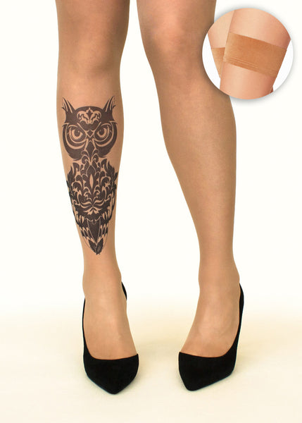Damask Owl tattoo printed hold-ups, tights & pantyhose