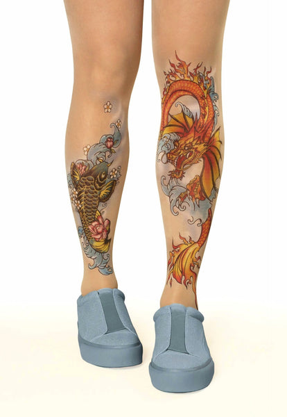 Colourful koi fish & dragon tattoo printed tights & pantyhose