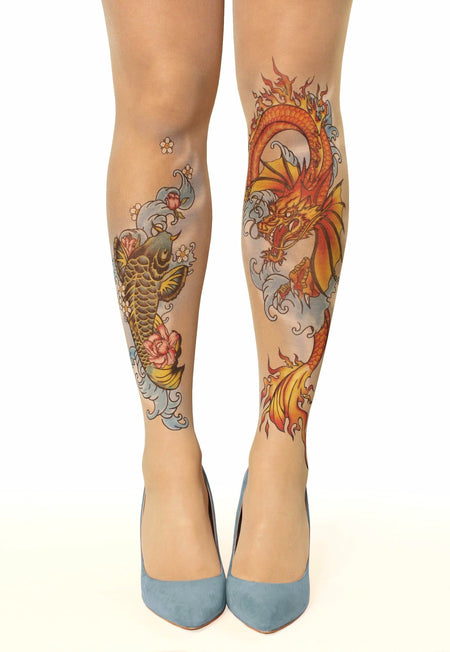 Swallow Feather Tattoo Sheer Tights