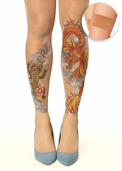 Colourful koi fish & dragon tattoo printed hold-ups, tights & pantyhose