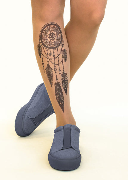 Black Dreamcatcher tattoo printed tights & pantyhose