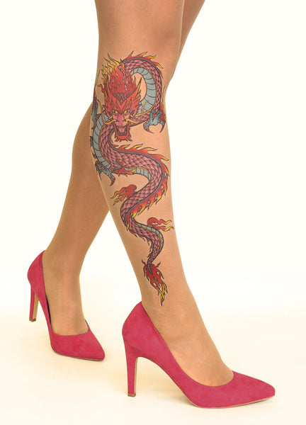 Fire Dragon tattoo printed hold-ups, tights & pantyhose