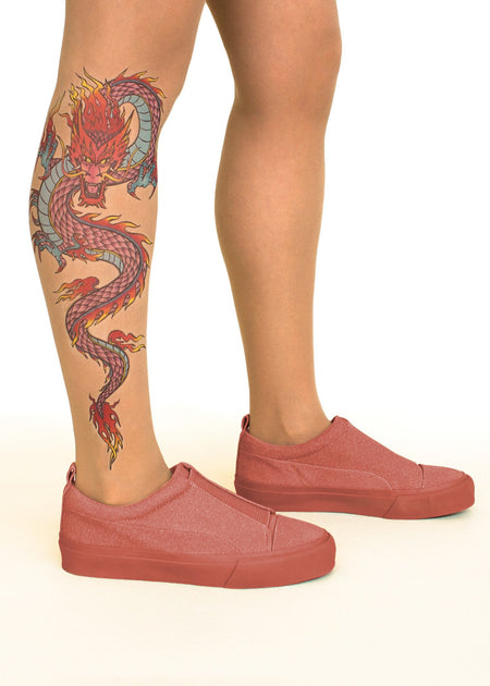 Maori Couple Tattoo Sheer Tights