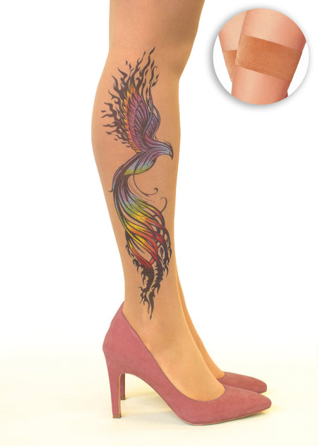 Medusa Head Tattoo Sheer Hold-Ups