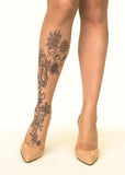 Floral Henna tattoo printed tights & pantyhose