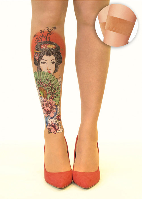 Japanese Geisha tattoo printed hold-ups, tights & pantyhose